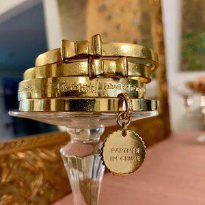 4 Kate Spade Gold Bangles w/Charms, Bows, & LE